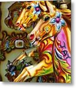 Colourful Fariground Horses On A Carousel Metal Print