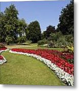 Colourful Flowerbeds In Hyde Park In London England Metal Print
