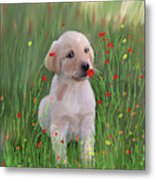 Computer Generated Portrait Of A Dog Metal Print