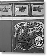 Coney Island Alive In Black And White Metal Print