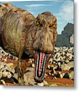 Confrontation With A Carnivorous Metal Print
