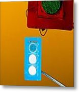 Confusing Wrong-color Traffic Lights And Copyspace Metal Print