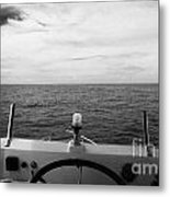 Controls On The Flybridge Deck Of A Charter Fishing Boat In The Gulf Of Mexico Out Of Key West Flori Metal Print