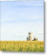 Corn Field With Silos Metal Print