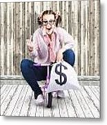 Corrupt Business Thief In A Smart Stealing Scam Metal Print