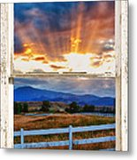 Country Beams Of Light Barn Picture Window Portrait View  Metal Print