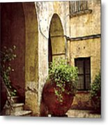 Courtyard In Capri Metal Print