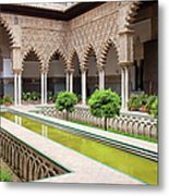 Courtyard Of The Maidens In Alcazar Palace Of Seville Metal Print