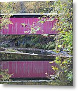 Covered Bridge Along The Wissahickon Creek Metal Print