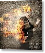 Crazy Businessman Running Engulfed In Fire. Late Metal Print