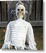 Creepy Skulled Mummy Metal Print