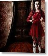 Creepy Woman With Bloody Scissors In Haunted House Metal Print