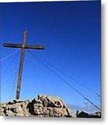 Cross At Capu Di A Veta Near Calvi In Corsica Metal Print