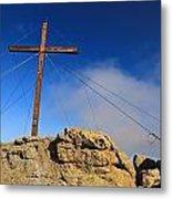 Cross At Capu Di A Veta Near Calvi Metal Print