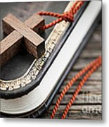 Cross On Bible Metal Print