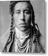 Crow Indian Man Circa 1908 Metal Print by Aged Pixel