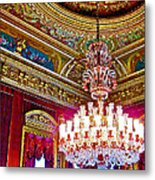 Crystal Chandelier In Dolmabache Palace In Istanbul-turkey  Metal Print