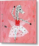 Custom Child's Zebra Ballerina Metal Print by Kristi L Randall
