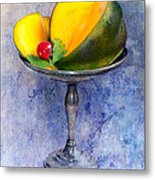Cut Mango On Sterling Silver Dish Metal Print