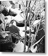 Cut Stone Blocks Backyard Snow Aberdeen South Dakota 1965 Black And White Metal Print