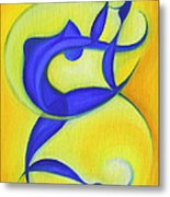 Dancing Sprite In Yellow And Blue Metal Print