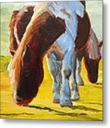 Dartmoor Ponies Painting Metal Print