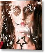 Day Of The Dead Girl Blowing Party Bubbles Metal Print