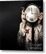 Dead Business Person Holding End Of Time Clock Metal Print