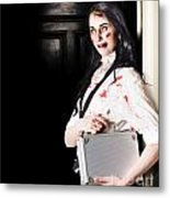 Dead Female Zombie Worker Holding Briefcase Metal Print