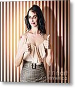 Dead Set Business Woman Ready With Thumbs Up Metal Print