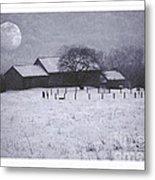 December Moonrise Farmstead Metal Print