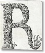 Decorative Letter Type R 1650 Metal Print