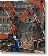 Demolition Vehicles At Work Metal Print