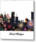 Detroit Michigan Fireworks Skyline Metal Print
