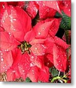 Diamond Encrusted Poinsettias Metal Print