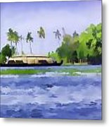 Digital Oil Painting - A Houseboat On Its Quiet Sojourn Through The Backwaters Of Allep Metal Print