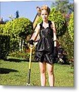 Do It Yourself Gardening Lady Metal Print