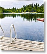 Dock On Calm Lake In Cottage Country Metal Print