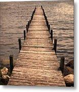 Dock On Mountain Lake Metal Print