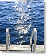 Dock On Summer Lake With Sparkling Water Metal Print