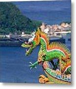 Dragon Sculpture On Roof Metal Print