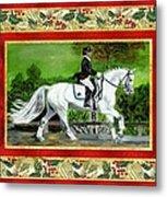Dressage Horse Christmas Card Metal Print