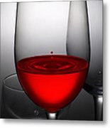 Drops Of Wine In Wine Glasses Metal Print