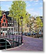 Dutch Canal Houses In Amsterdam Metal Print