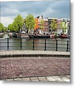 Dutch Houses By The Amstel River In Amsterdam Metal Print