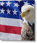 Eagle And Flag Metal Print