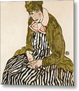Edith With Striped Dress Sitting Metal Print