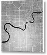 Edmonton Street Map - Edmonton Canada Road Map Art On Colored Ba Metal Print