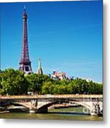 Eiffel Tower And Bridge On Seine River In Paris France Metal Print