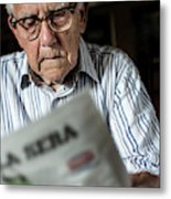 Elderly Man Reading A Newspaper Metal Print